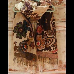 Tolani Anthropologie Fall Floral Wrap Cocoa